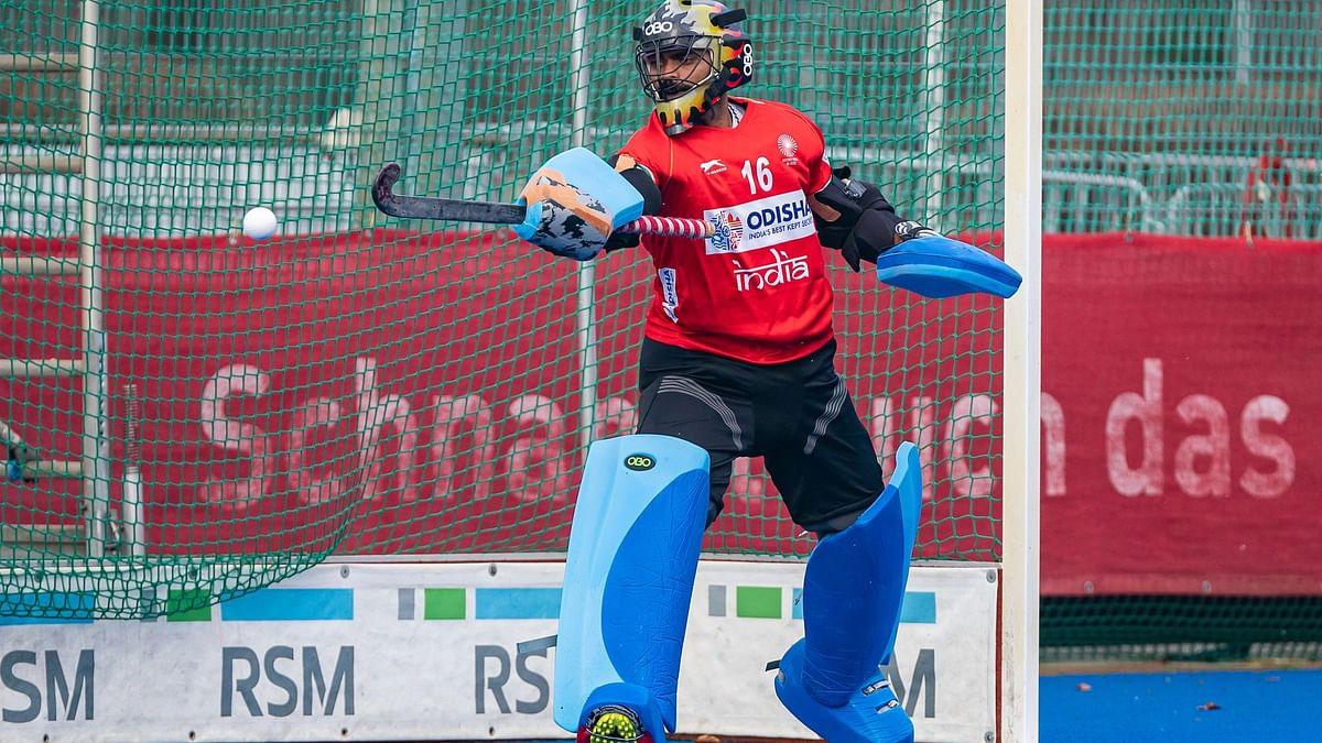 "<div class=""paragraphs""><p>Indian hockey team goalkeeper PR Sreejesh in a practice session</p></div>"