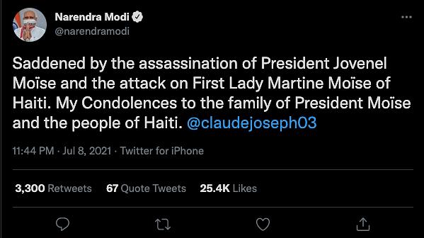 "<div class=""paragraphs""><p>PM Modi expressed condolences to the family of President&nbsp;Moïse.</p></div>"