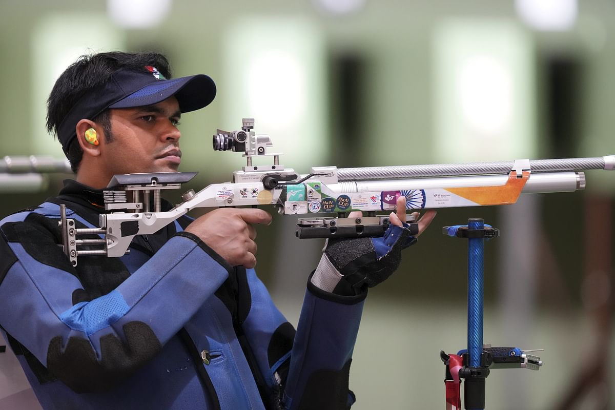 """<div class=""""paragraphs""""><p>Tokyo: India's Deepak Kumar in action during the 10m Air Pistol Men's Qualification event at the Summer Olympics 2020, in Tokyo, Sunday, July 25, 2021. Both Indian shooters, Divyansh Singh Panwar and Deepak Kumar failed to qualify.</p></div>"""