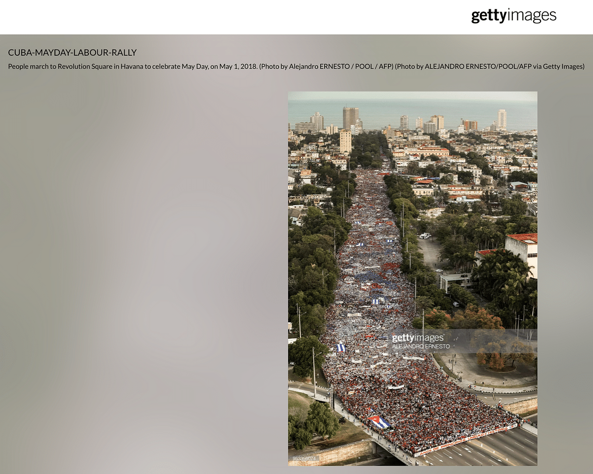 """<div class=""""paragraphs""""><p>People marched to Revolution Square in Havana in 2018.</p></div>"""