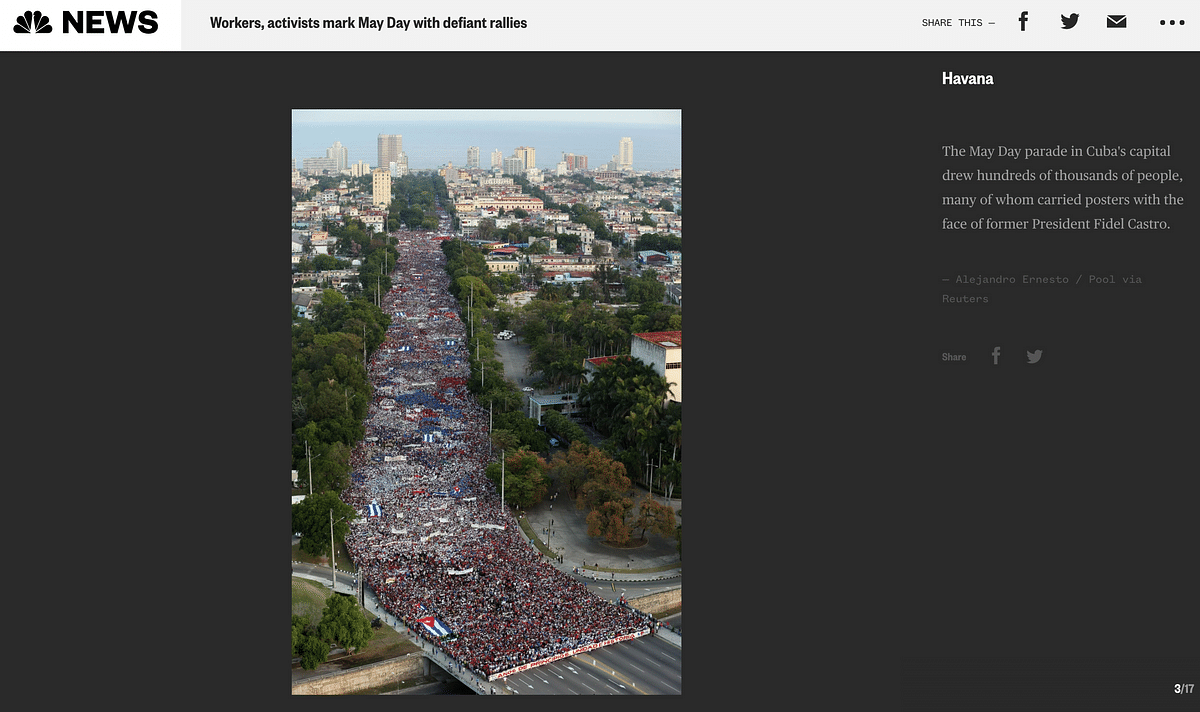 """<div class=""""paragraphs""""><p>The photo is of May Day celebrations in Havana in 2018.</p></div>"""