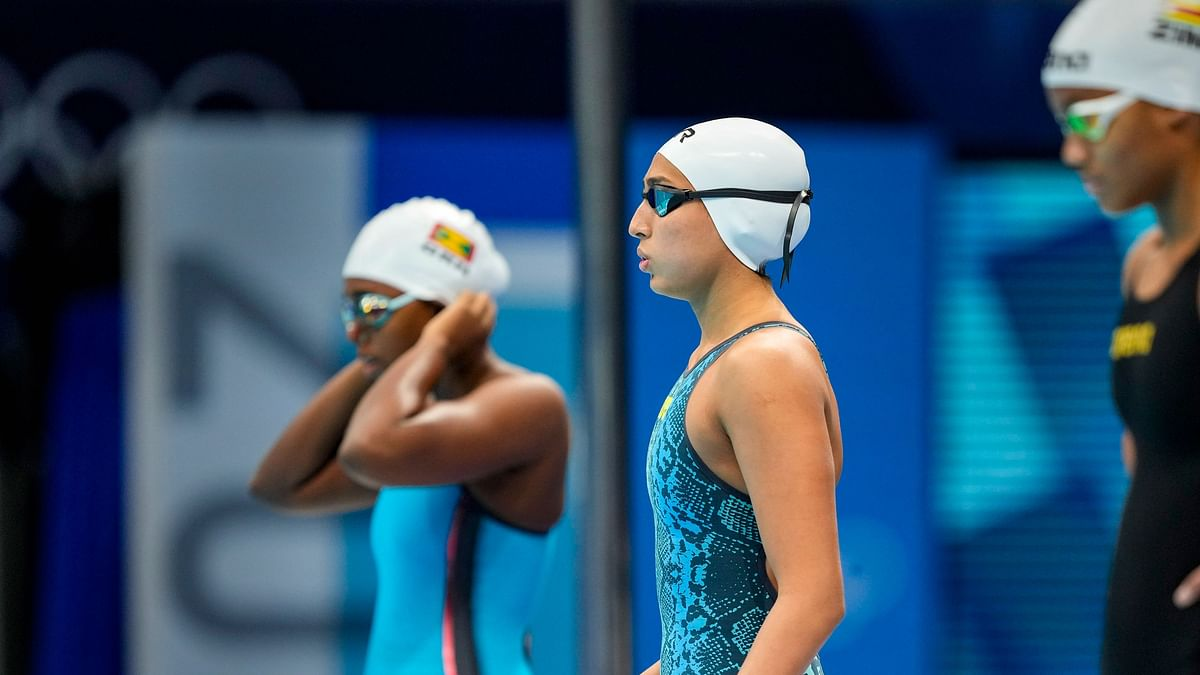 "<div class=""paragraphs""><p>Tokyo Olympics: India's Maana Patel (centre) before the 100m backstroke event.&nbsp;</p></div>"