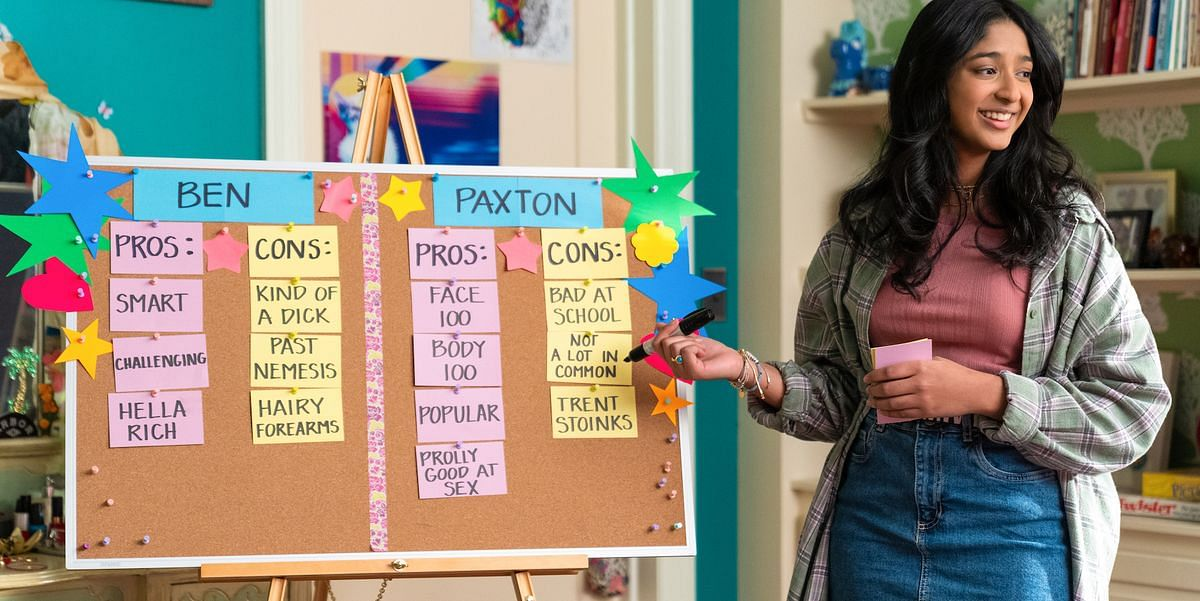 """<div class=""""paragraphs""""><p>Devi with her pros and cons board for Ben and Paxton.</p></div>"""