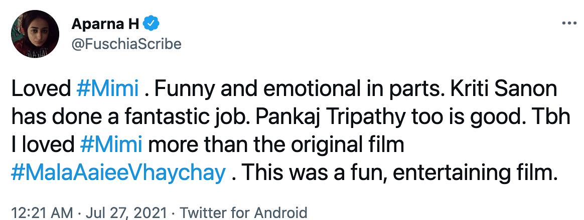 Twitter Showers Love on 'Mimi'; Appreciates Film's Take on Surrogacy