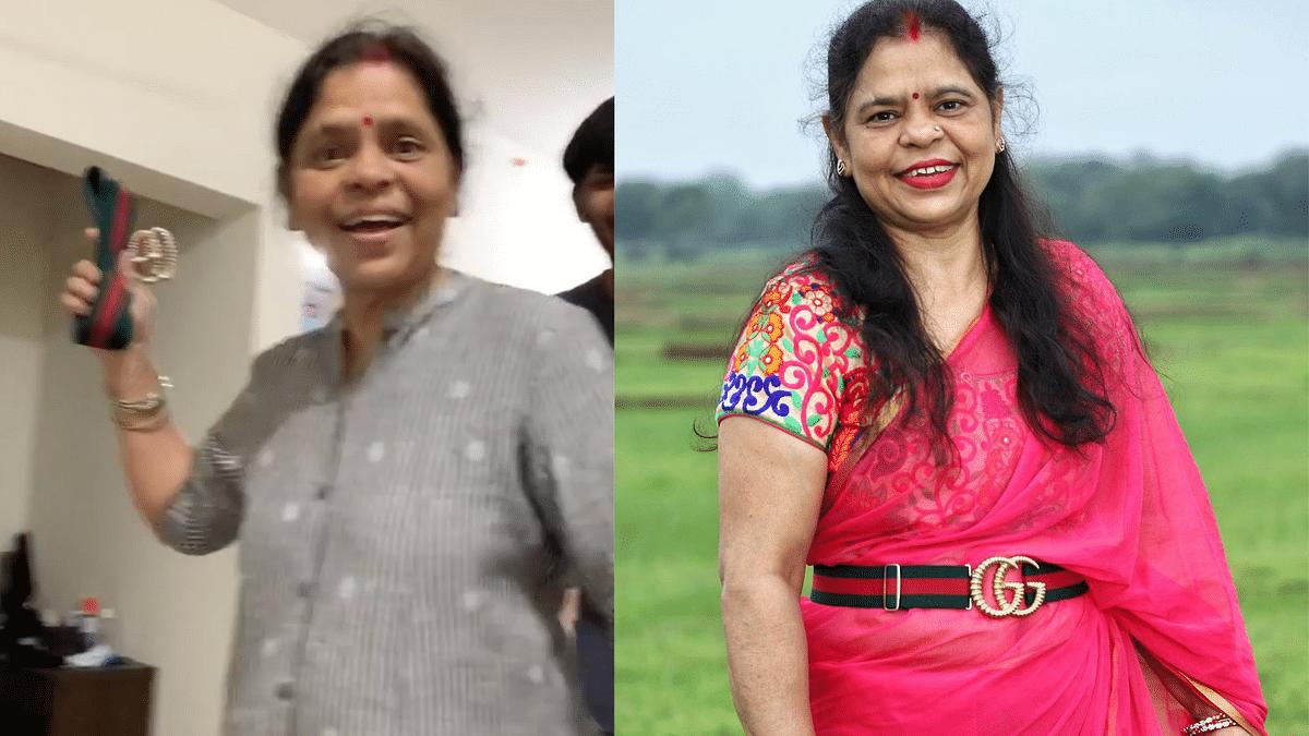 "<div class=""paragraphs""><p>Anita Gupta, mother of Chabi Gupta wearing the ""DPS belt"" with a saree.</p></div>"