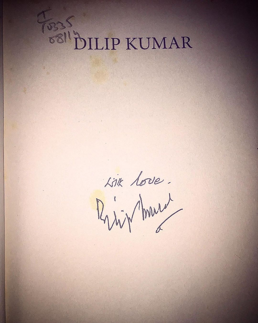 """<div class=""""paragraphs""""><p>Babil posted picture of the signed autobiography of Dilip Kumar that he and his father Irrfan  had received.</p></div>"""