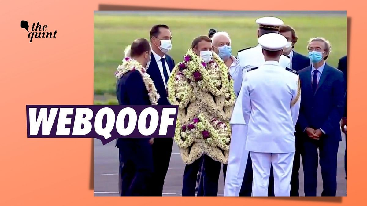 French President Covered in Flower Garlands? Picture is Edited