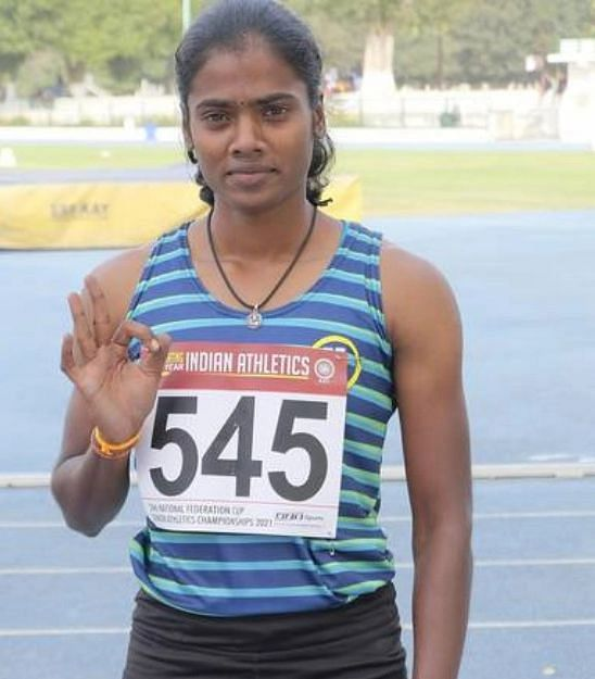 """<div class=""""paragraphs""""><p>Dhanalakshmi was named the best athlete in the state during the 92nd Tamil Nadu Senior State Athletic Championships in 2019.</p></div>"""