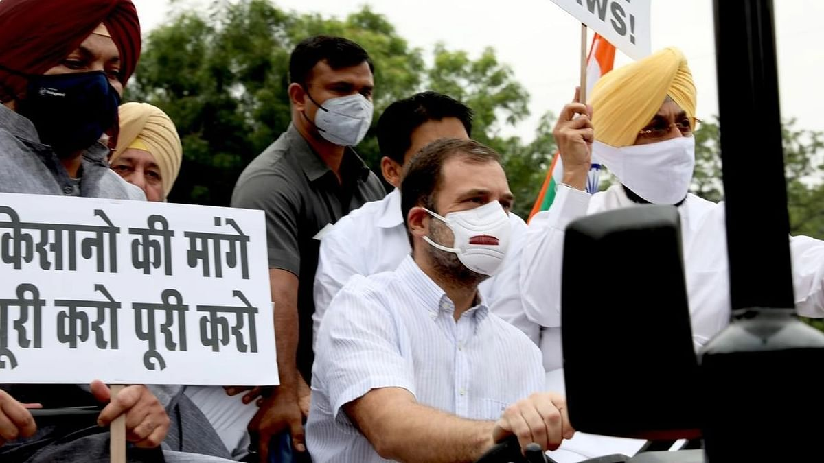 Brought Farmers' Message: Rahul Gandhi Drives Tractor to Parl Against Farm Laws