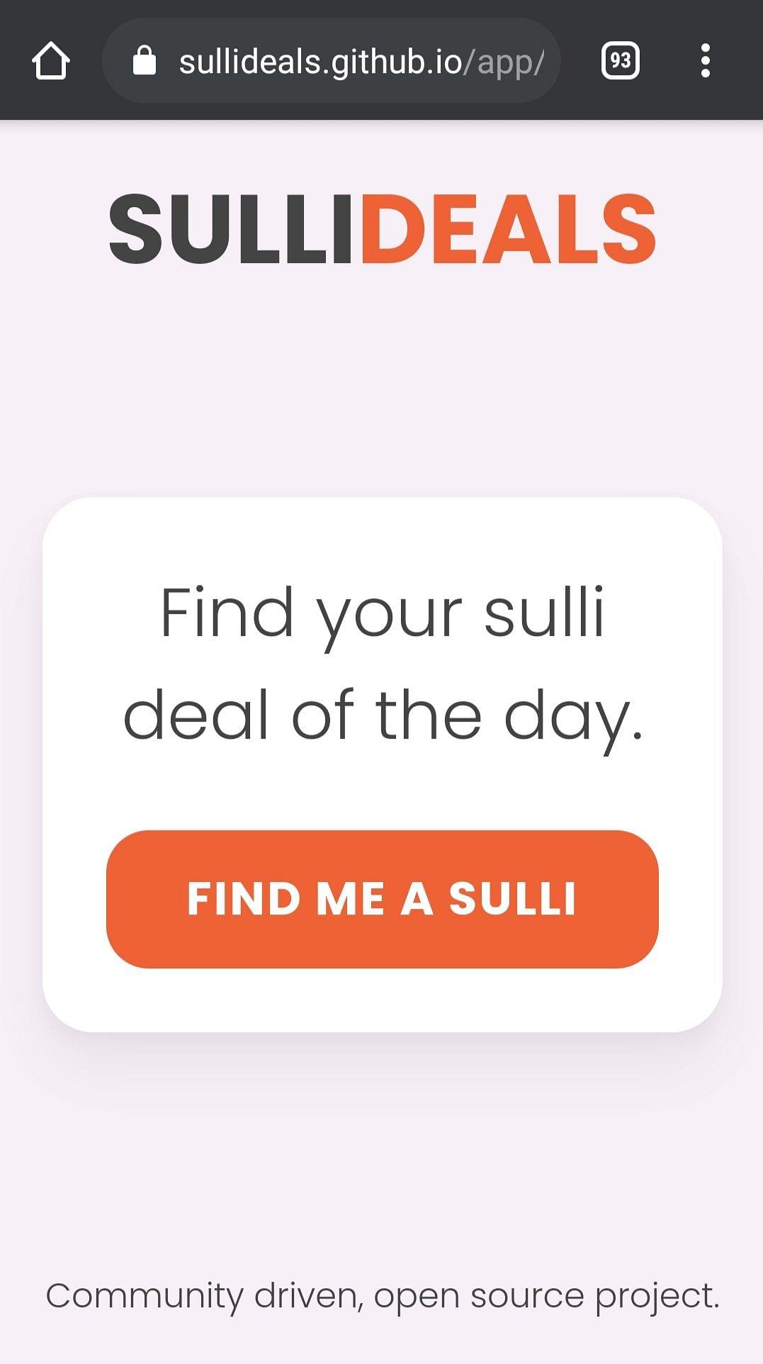 "<div class=""paragraphs""><p>Screengrab of 'Sulli Deals' app on Github.</p></div>"