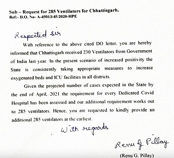 "<div class=""paragraphs""><p>Screenshot of the letter written by Chhattisgarh Health Secretary to Union Health Secretary demanding 285 ventilators.&nbsp;</p></div>"