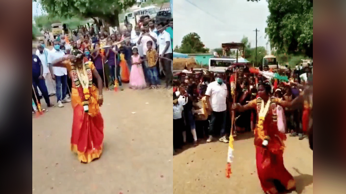 """<div class=""""paragraphs""""><p>P Nisha performs Surul Vaal Veechu and Silambam for guests present at her wedding</p></div>"""