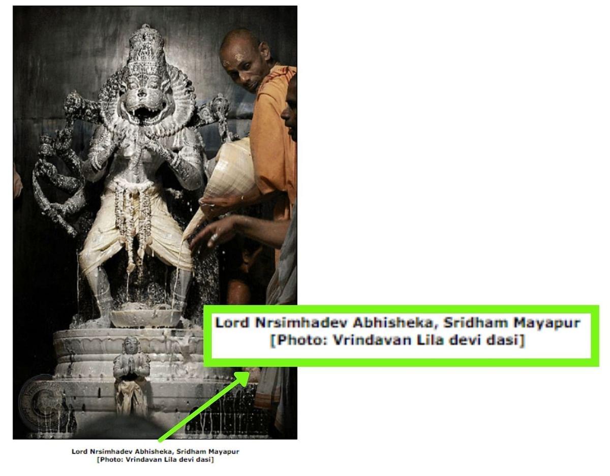 "<div class=""paragraphs""><p>The caption places the idol at Sridham Mayapur, West Bengal.</p></div>"