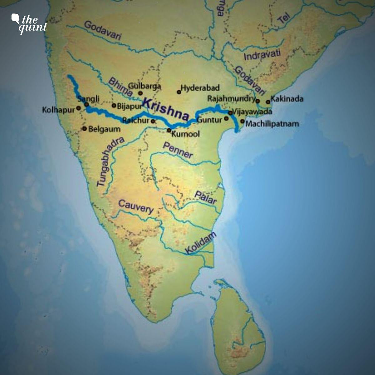 "<div class=""paragraphs""><p>Krishna river flows through Maharashtra, Telangana and Andhra Pradesh.</p></div>"