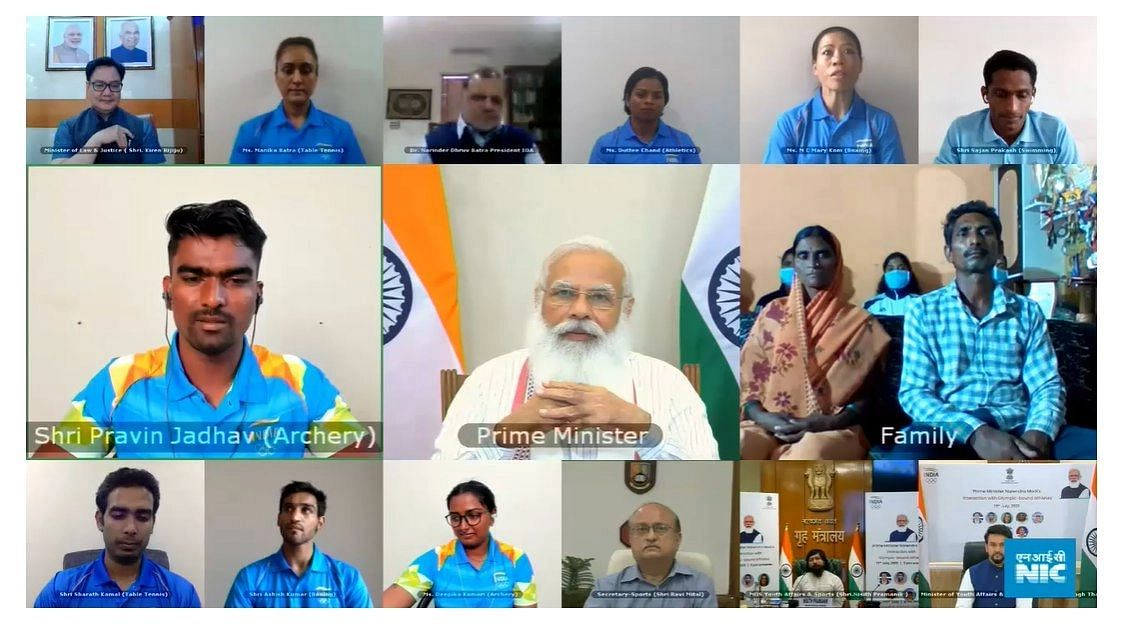 PM Modi Interacts With Tokyo Olympics Bound Indian Contingent