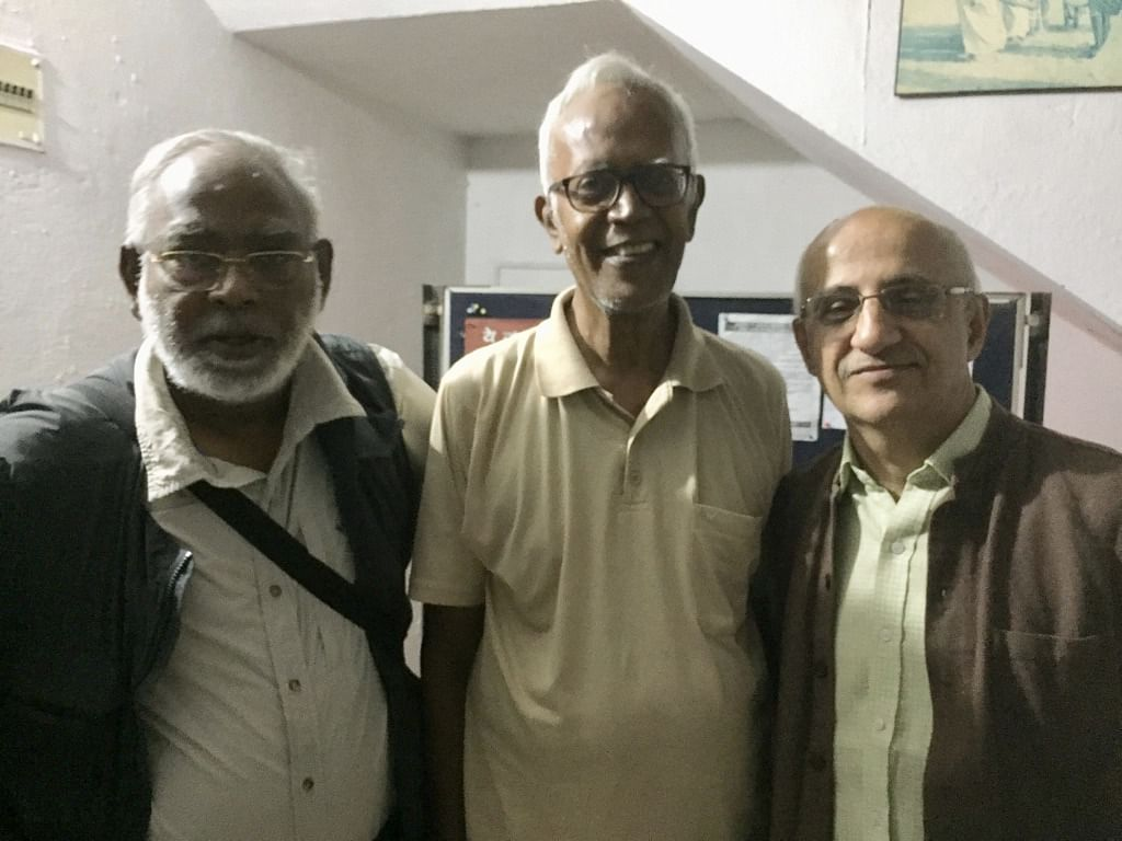 """<div class=""""paragraphs""""><p>Father Stan Swamy with human rights activists John Dayal and Harsh Mander.</p></div>"""