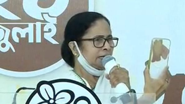 """<div class=""""paragraphs""""><p>West Bengal Chief Minister Mamata Banerjee at Trinamool Congress' annual Shahid Dibas event.</p></div>"""