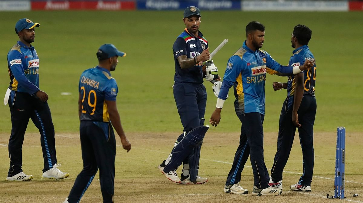 """<div class=""""paragraphs""""><p>India's captain Shikhar Dhawan walks off the pitch after defeating Sri Lanka by seven wickets in their first one day international cricket match in Colombo, Sri Lanka, Sunday, July 18, 2021.</p></div>"""