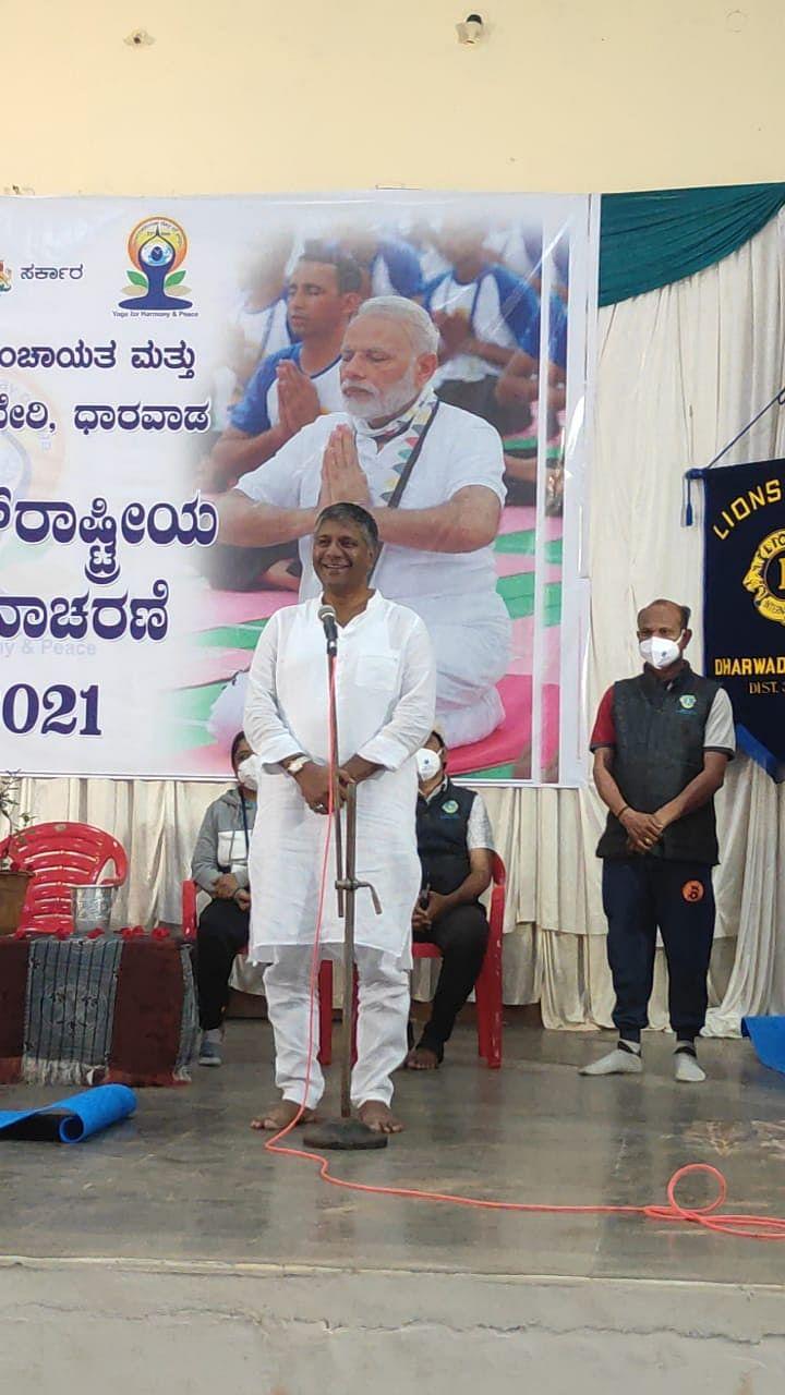 "<div class=""paragraphs""><p>Arvind Bellad during a Yoga day campaign.&nbsp;</p></div>"
