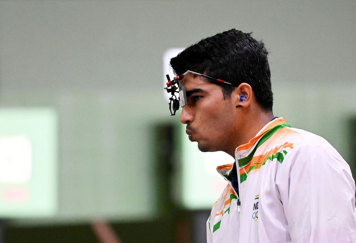 """<div class=""""paragraphs""""><p>India's Saurabh Chaudhary reacts during the 10m Air Pistol Mixed Team event, at the Summer Olympics 2020, in Tokyo, Tuesday, July 27, 2021.</p></div>"""