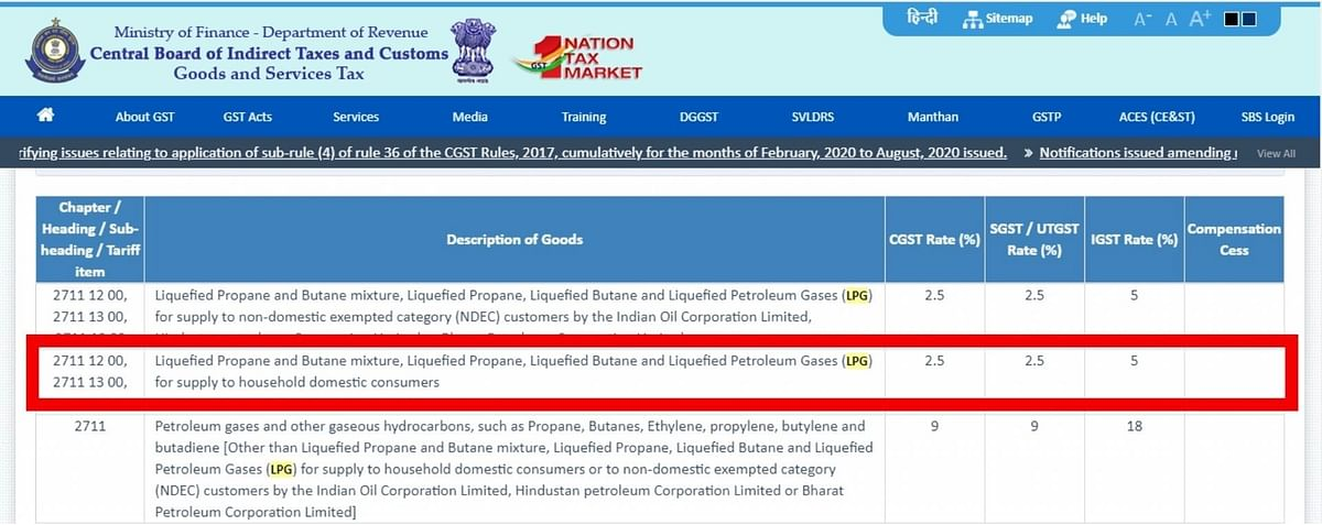 """<div class=""""paragraphs""""><p>The highlighted section shows the GST division for domestic LPG.</p></div>"""
