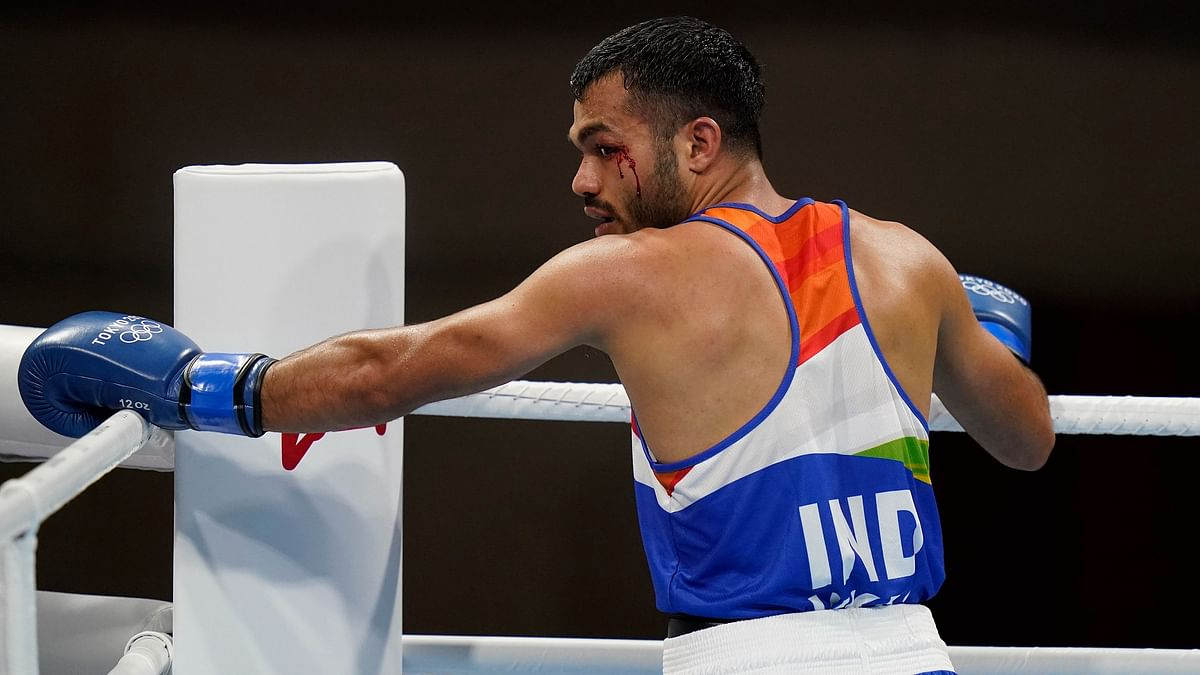 """<div class=""""paragraphs""""><p>Tokyo Olympics: Vikas Krishan after his defeat in the first round.&nbsp;</p></div>"""