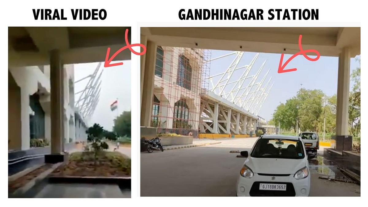 """<div class=""""paragraphs""""><p>Viral video (L), and screengrab from YouTube video&nbsp;of Gandhinagar railway station (R)</p></div>"""