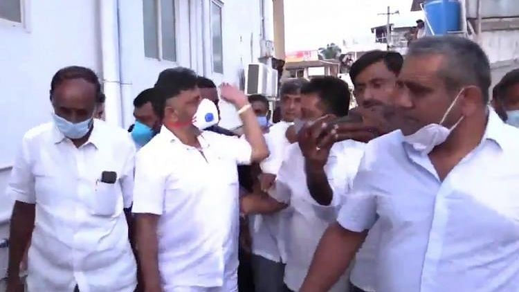 """<div class=""""paragraphs""""><p>The incident took place in Mandya on Friday when the state Congress chief paid a visit there to check on the health of a party leader.</p></div>"""