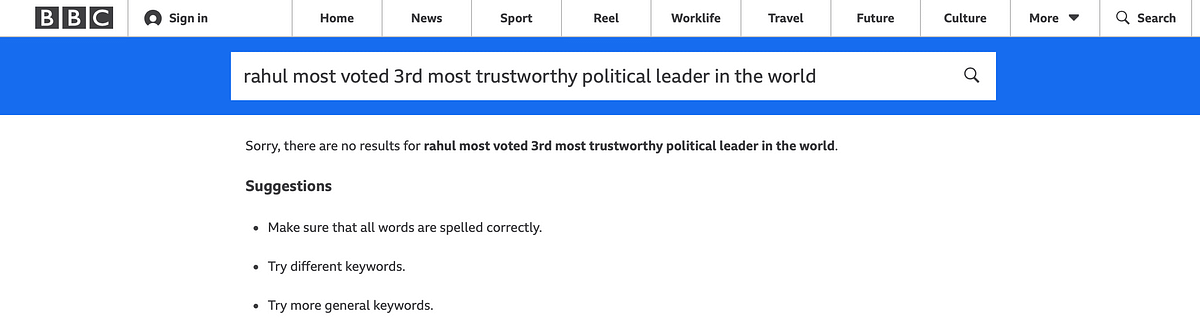 Morphed Pic Claims Rahul Gandhi is World's 3rd Most Trustworthy Leader
