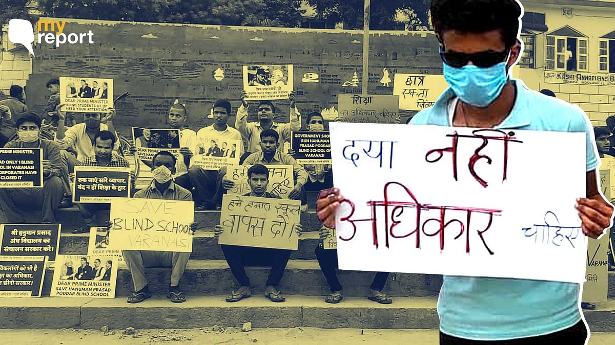 """<div class=""""paragraphs""""><p>Students of Shree Hanuman Prasad Poddar Andh Vidhyalaya in Varanasi are protesting the discontinuation of classes 9 to 12.</p></div>"""