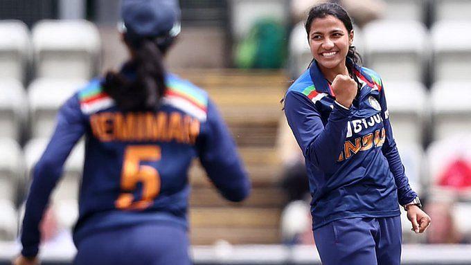 "<div class=""paragraphs""><p>Sneh Rana celebrates a wicket against England.&nbsp;</p></div>"