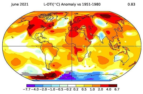 """<div class=""""paragraphs""""><p>Map of land-ocean temperature index anomaly in June, relative to the 1951-1980 baseline.</p></div>"""