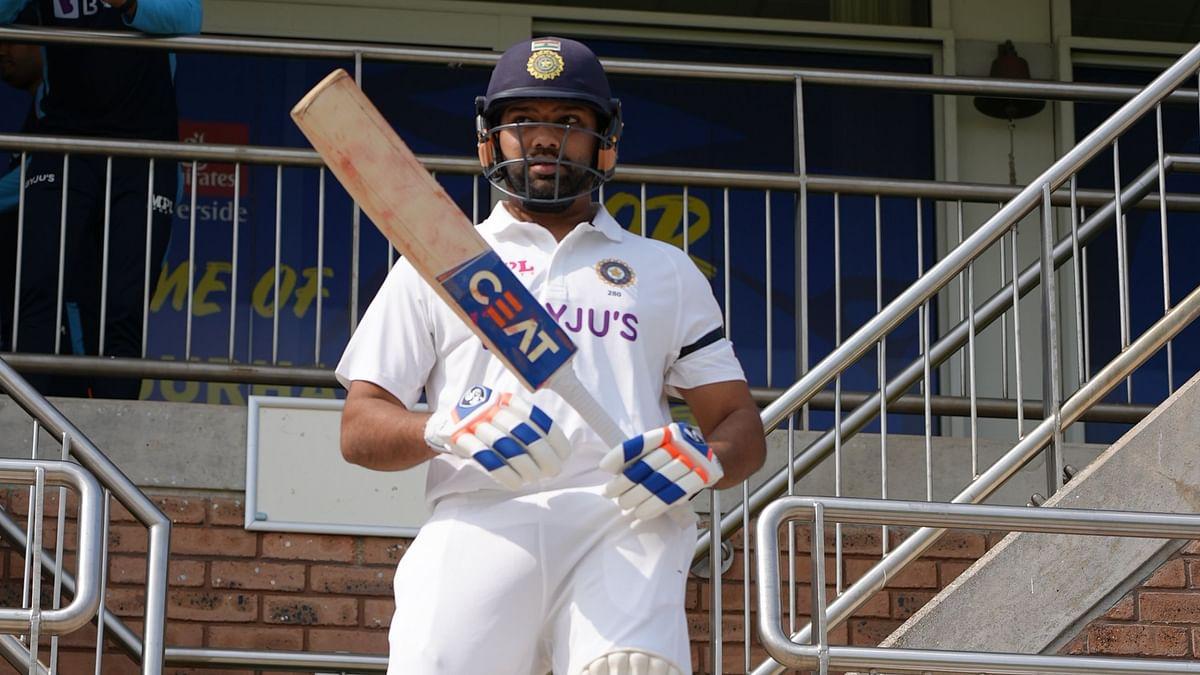 "<div class=""paragraphs""><p>Rohit Sharma walks out to bat in Durham</p></div>"