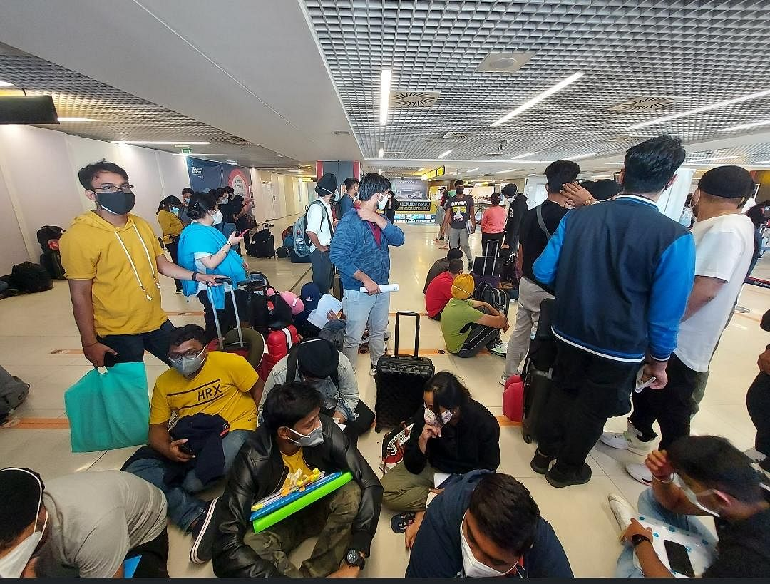 """<div class=""""paragraphs""""><p>Over 200 Indians, majority of whom are students stranded in Belgrade, waiting at the airport to be sent to their respective destinations.&nbsp;</p></div>"""
