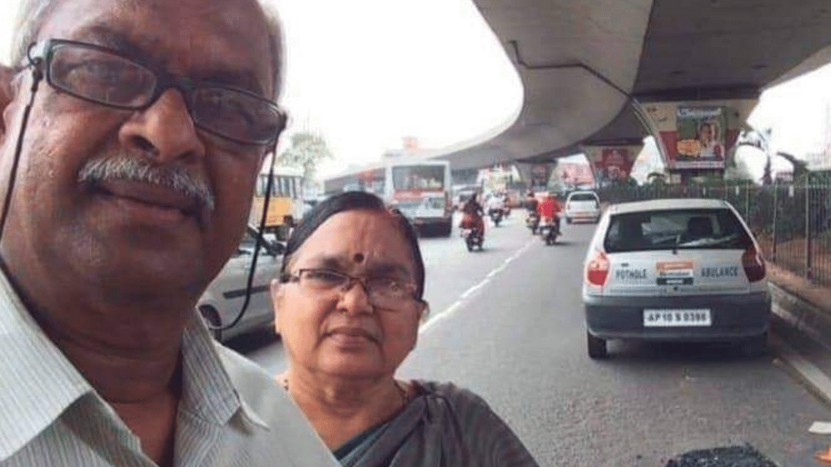 Old Couple in Hyderabad Spends Pension Money to Repair Potholes