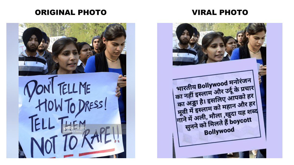 Image of Woman Holding 'Boycott Bollywood' Poster is Morphed!
