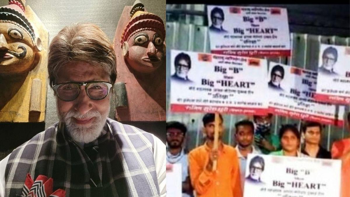 "<div class=""paragraphs""><p>MNS workers stage protest outside Amitabh Bachchan's bungalow Prateeksha.</p></div>"