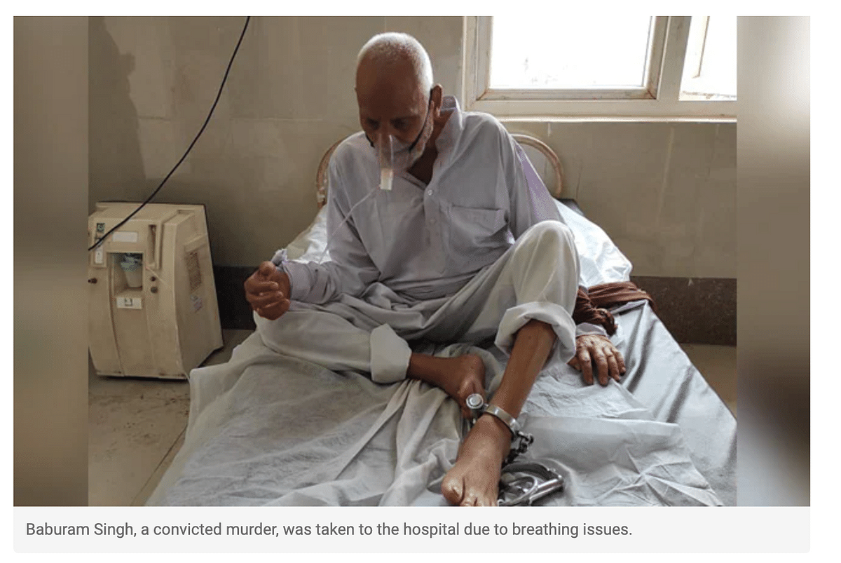 """<div class=""""paragraphs""""><p>The elderly inmate was chained to the hospital bed while during treatment in Uttar Pradesh.</p></div>"""