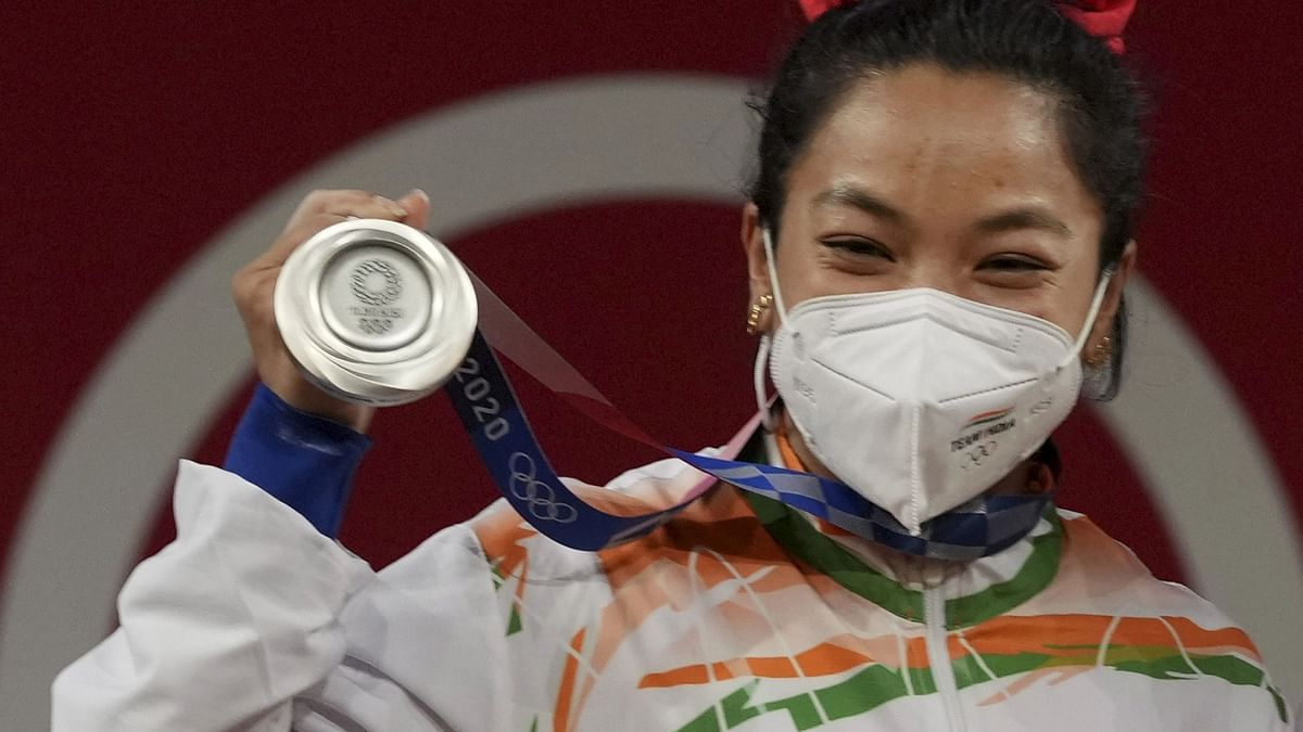 """<div class=""""paragraphs""""><p>Tokyo Olympics: Mirabai Chanu with her Silver Medal on Saturday.&nbsp;</p></div>"""