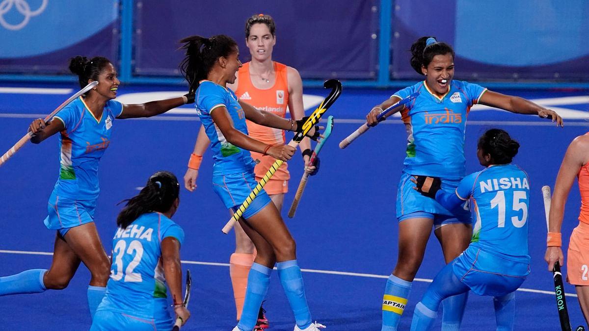 "<div class=""paragraphs""><p>Rani Rampal celebrates her goal.</p></div>"