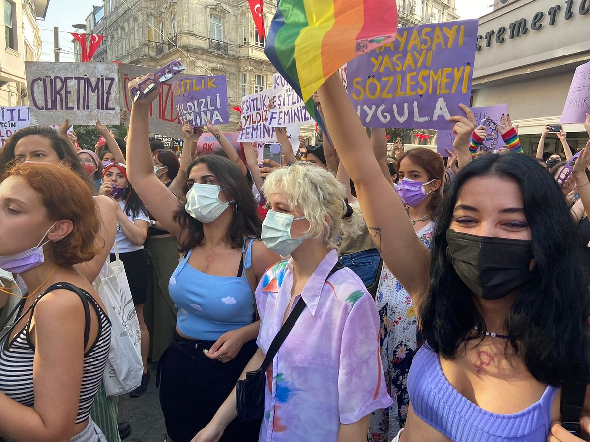 """<div class=""""paragraphs""""><p>Women protest against Turkey's withdrawal from the Istanbul Convention on 1 July.</p></div>"""
