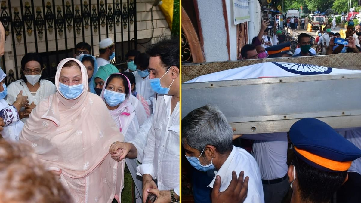 """<div class=""""paragraphs""""><p>Saira Banu at Dilip Kumar's funeral; the legendary actor wrapped in Tricolour.</p></div>"""