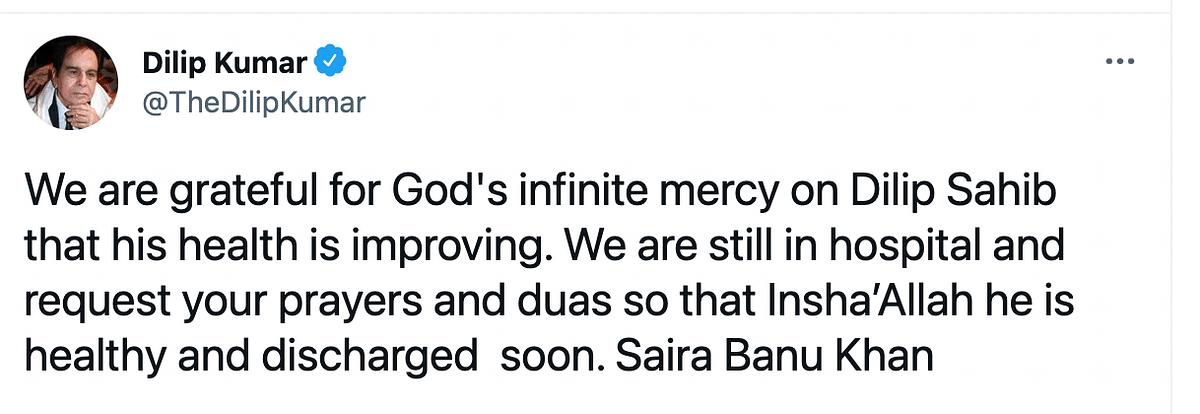 Dilip Kumar's Health is Improving, Tweets Saira Banu