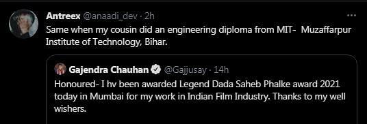 Twitter Fact-Checks Gajendra Chauhan's Claim of Receiving Dadasaheb Phalke Award