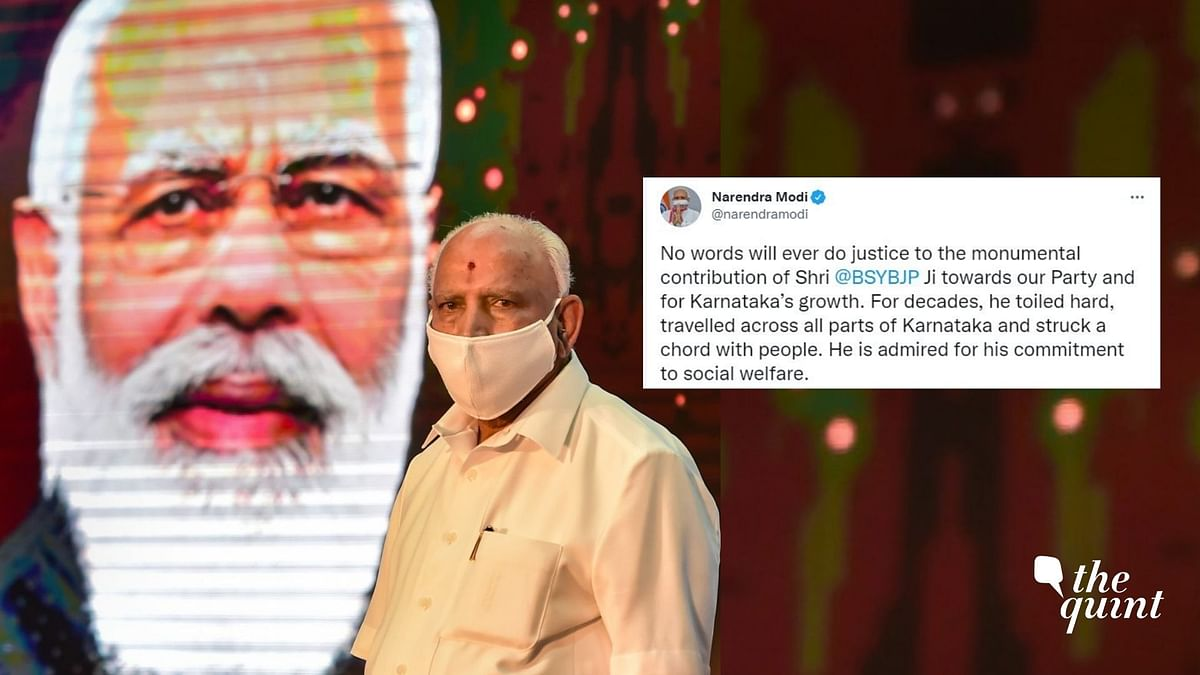 """<div class=""""paragraphs""""><p>PM Modi acknowledged the """"monumental contribution"""" of BS Yediyurappa who stepped down from the post on Monday.</p></div>"""