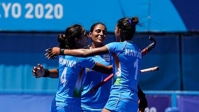 """<div class=""""paragraphs""""><p>India celebrate a goal against GB in the Bronze medal playoff&nbsp;</p></div>"""