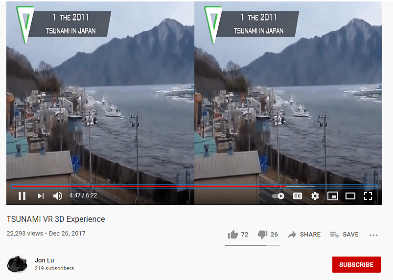 """<div class=""""paragraphs""""><p>The VR video identifies the incident as 'The 2011 Tsunami in Japan.'</p></div>"""