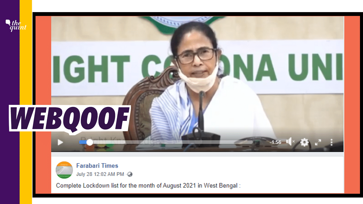 Clip of Mamata Banerjee's Aug 2020  Lockdown Rules Shared as Recent