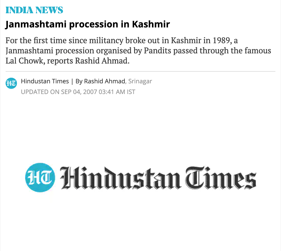 """<div class=""""paragraphs""""><p>In 2007, HT reported that Janmashtami procession passed through Lal Chowk for the first time since 1989.</p></div>"""