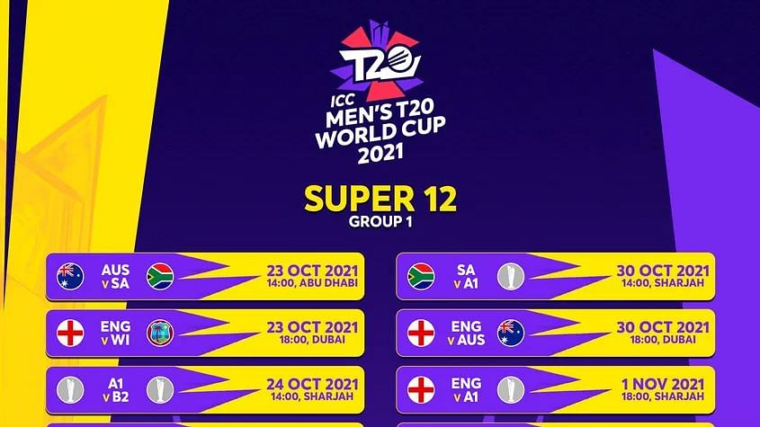Men's T20 World Cup: Full Schedule, List of Matches, Timings, Dates & Venues